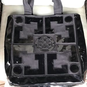 Tory Burch Black Patent Leather & Canvas Tote